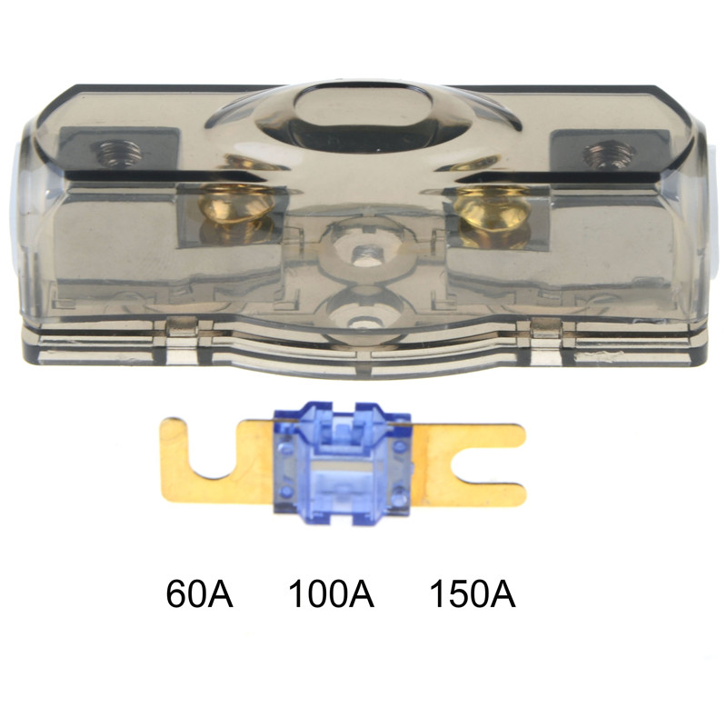 60A/100A/150A Block Car Fuse Box Fuse Holder Stereo Seats Transparent Insurance Voltage Display Durable Accessory Tool image