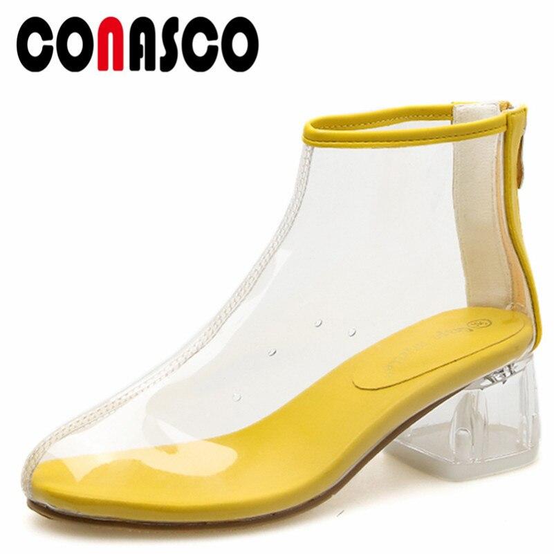 blanco Básicas Primavera Cremallera Altos Zapatos Botas Conasco1novedad De Tacones Mujer Calidad Negro Tobillo amarillo Otoño rIrqwC6