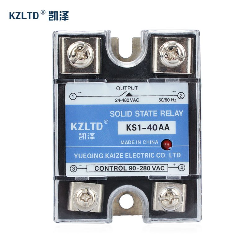 Single Phase Solid State Relay 40a SSR-40AA  90~280V AC to 24~480V AC Relay Switch rele temporizador W/Aluminum Heat Sink Plate