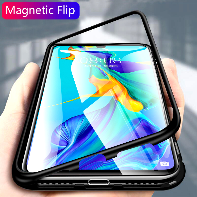 chyi-magnetic-flip-case-for-huawei-p30-pro-case-glass-hard-back-cover-luxury-metal-frame (2)