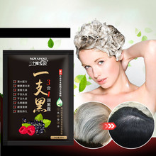 1 пакет не аллергический натуральный травяной быстро черный экстракт женьшеня черный краситель для волос шампунь цвет волос для 5 минут анти-белые волосы