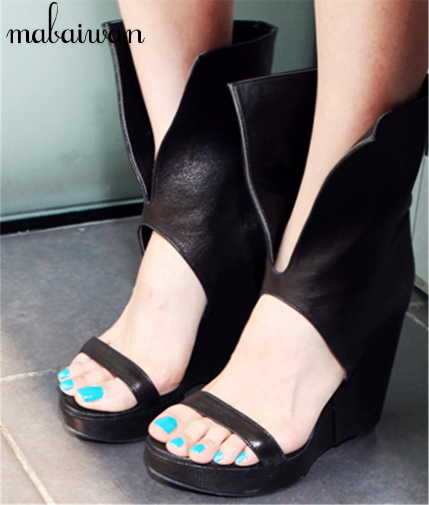 Black boot sandals - New Rome Style Women Gladiator Sandals Black Summer Boots Platform Wedge Shoes Woman Punk Women Pumps