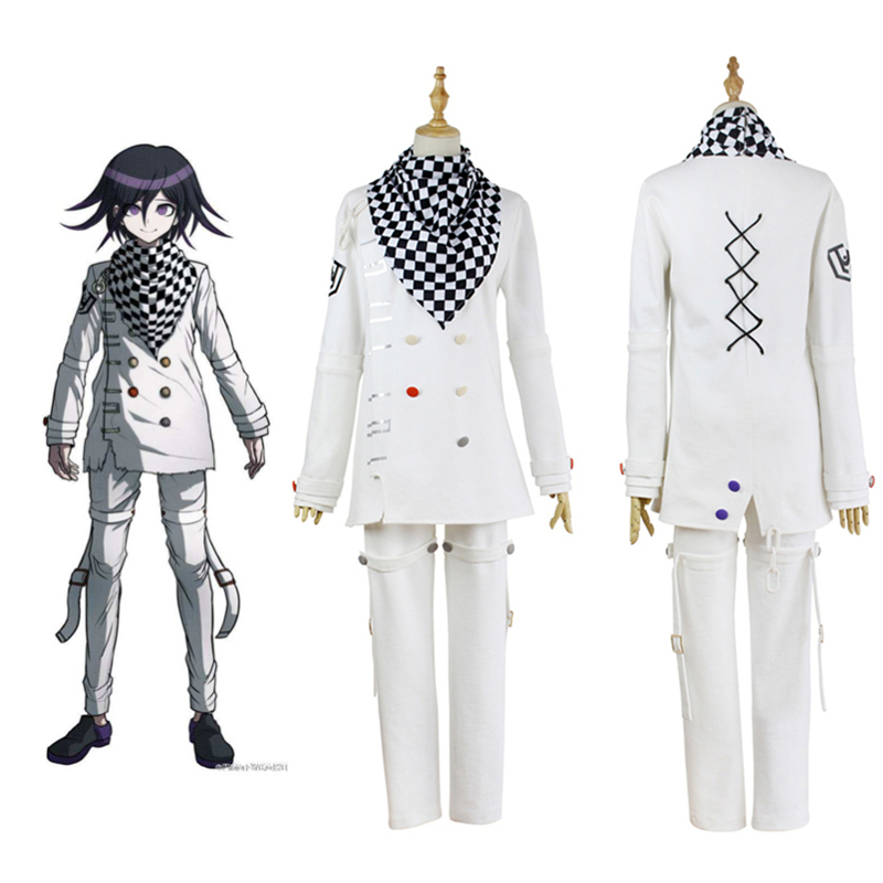 Danganronpa V3 Saihara Shuichi Cosplay Costume Striped Uniform Outfit Suit w//Hat
