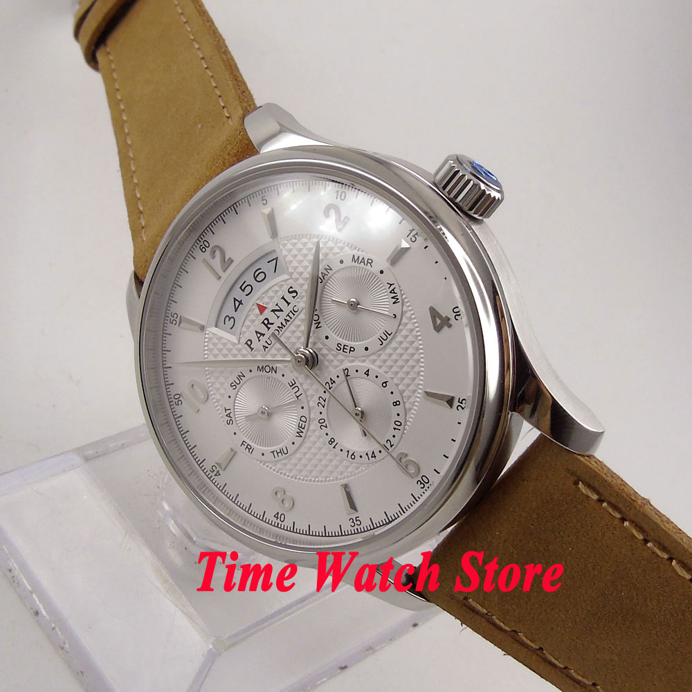 42mm Parnis white dial date sapphire glass MIYOTA 9100 Automatic movement mens watch 666 luxury brand 42mm parnis black dial white dial date 24 hour power reserve moon phase miyota 9100 automatic mens wrist watch p560