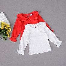 Кружевная футболка с длинными рукавами для девочек, хлопковые топы для маленьких девочек, одежда, футболки принцессы для девочек, осенние детские футболки