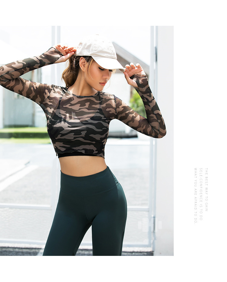 Women Sexy Sports Top Yoga Shirts Fitness Crop Long Sleeve tee camouflage  see-through look Running T - shirt Gym Sportswear
