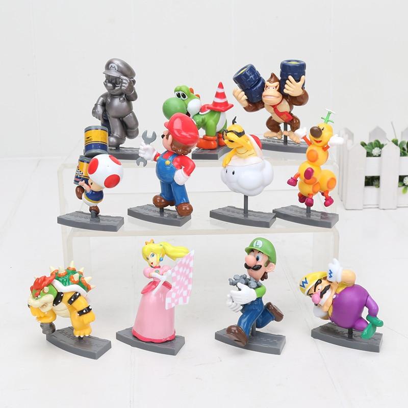 US $18 66 33% OFF|11pcs/set Super Mario Bros Figure Mario Kart 7 Big Figure  Collection Koopa Mairo Luigi Princess Yoshi Model Figures Toy 6 8cm-in