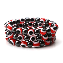 EVIL EYE fashion new 1PCS Classic Red Blue Evil Eye Charm With Obsidian Beads Bracelet Men And Women's Fashion Bracelet Jewelry