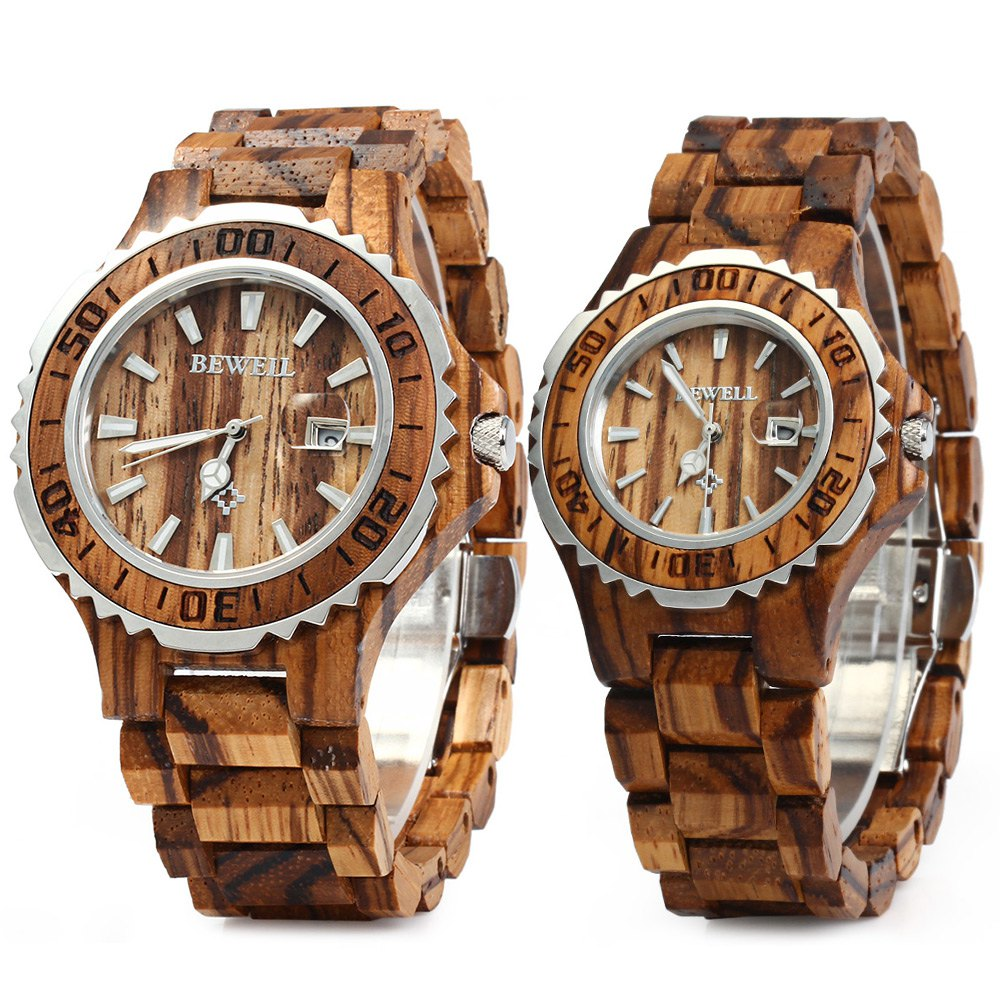 BEWELL Luxury Brand Pair of Couple Quartz Watch Waterproof Calendar Men Women Wood Watch Lover's Wristwatches relogio bewell men stylish luxury business black wood watch calendar life waterproof watch analog quartz movement male wristwatches 109a