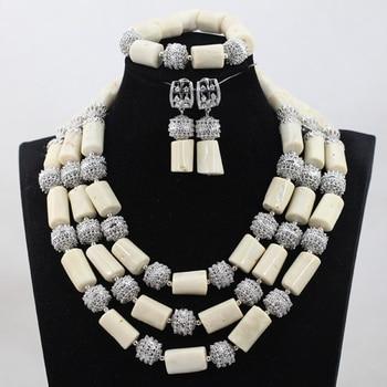 Conjunto de joyas de collar de cuentas de mujer, conjunto de joyas de Coral blanco de moda, 3 filas, boda Africana nigeriana, sin novia ShippingABH293