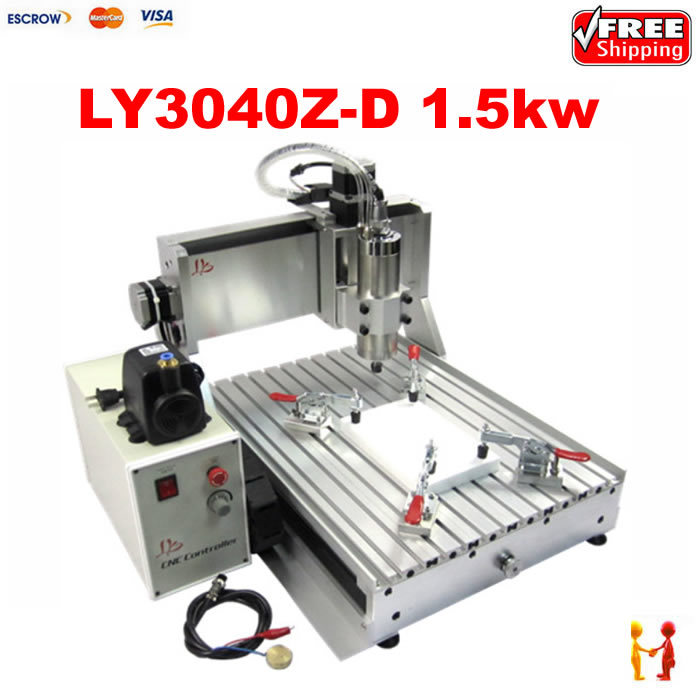 LY CNC router 3040 VFD with 1.5KW spindle, 3 axis cnc engraving machine for metal wooden stone cnc router ly 3040 z vfd 1 5kw usb 4axis cnc milling machine with water tank for wood metal carving can do 3d article