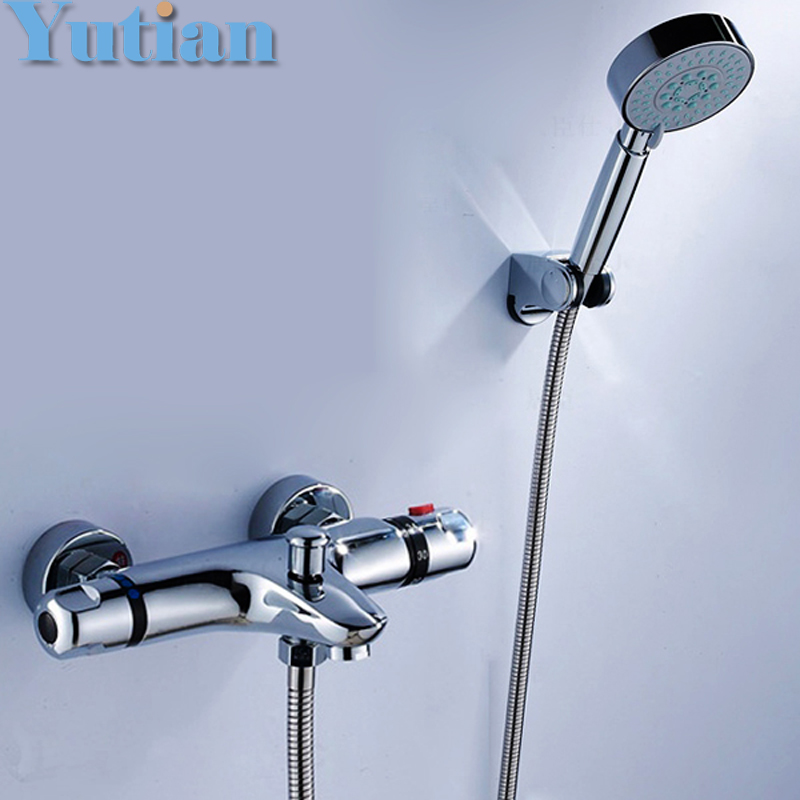 Free shipping luxury wall mounted thermostatic shower facuet set mixer tap, thermostatic valve + hand shower YT-5312 wholesale and retail wall mounted thermostatic valve mixer tap shower faucet 8 sprayer hand shower