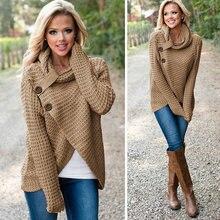 Женский вязаный свитер с воротником-шарфом и воротником-хомутом, повседневные женские свитера с пуговицами, пуловеры, осенне-зимние женские топы