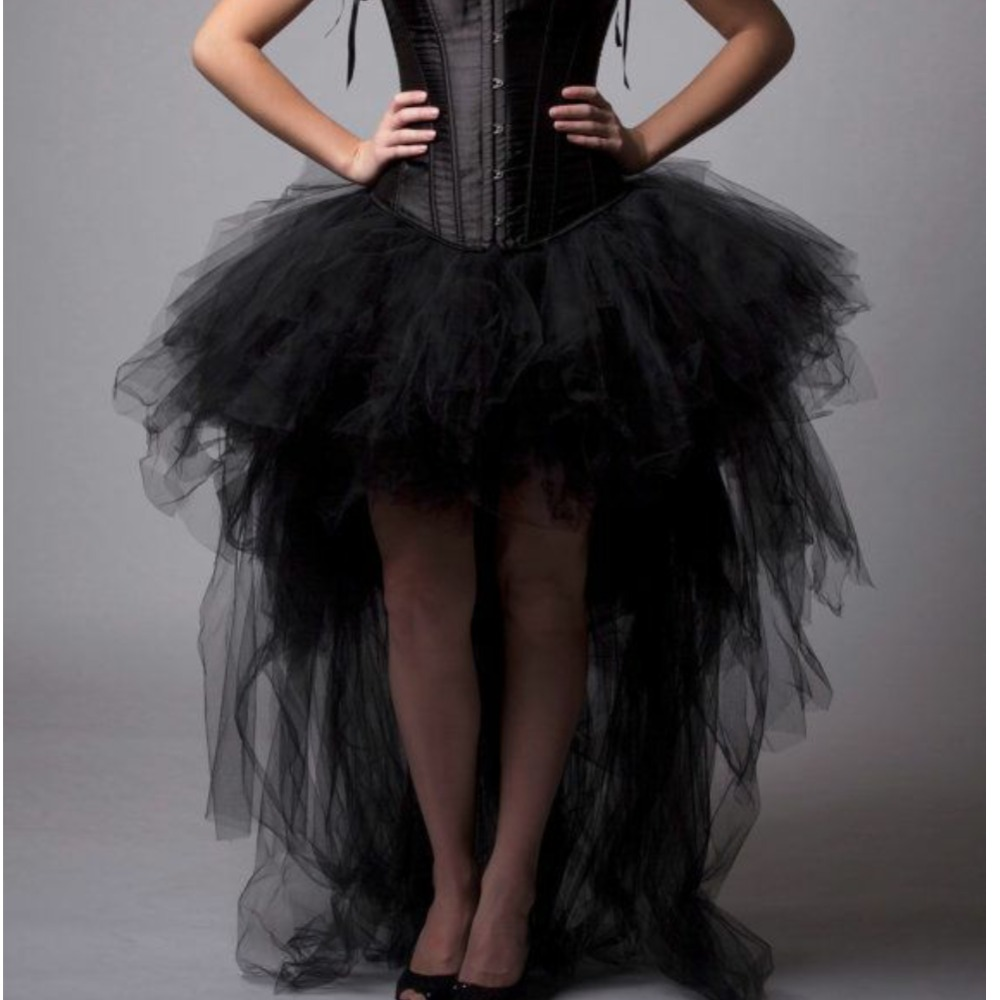 2017 Gothic High Low Black Tulle Skirts Elastic Puffy Tutu ...