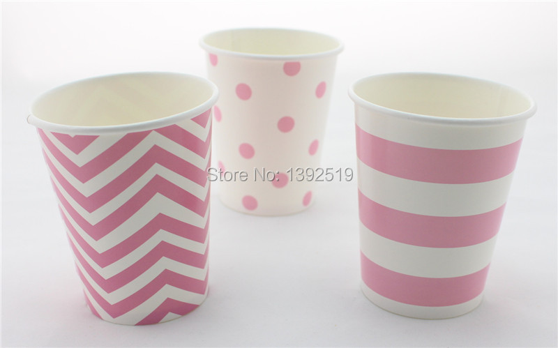 Free Shipping 48pcs Paper Cups Baby Pink Polka Dot Striped Chevron Paper Drinking Cups 6 Colros Wedding Party Drinking Cups