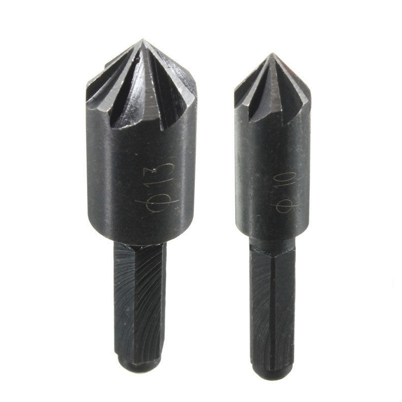 цена на 2Pcs 7 Flute Countersink Drill Bit 1/4 Hex Shank HSS 82 Degree Drill Bit Tool for Woodworking Chamfer Cutter 10-13mm
