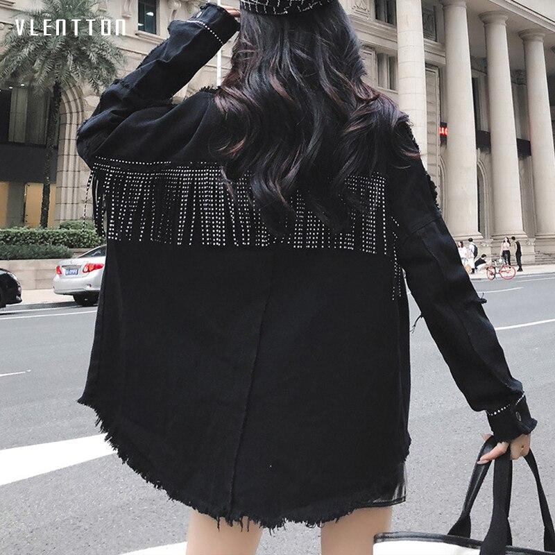 High Quality Spring Black Loose Denim Jacket Women Rivet Tassel Jean Jacket Coat Long Sleeve Streetwear Feminine Coat Outerwear-in Jackets from Women's Clothing