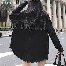High Quality Spring Black Loose Denim Jacket Women Rivet Tassel Jean Coat Long Sleeve Streetwear Feminine Outerwear