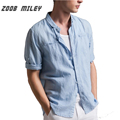 ZOOB MILEY High Qulity Men Shirts Half Sleeve Length Breathable Linen and Cotton Soft For Spring Summer Men Clothing Plus Size
