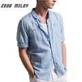Zoob miley de alta qulity hombres camisas media manga longitud transpirable ropa de cama y de algodón suave para la primavera verano hombres clothing plus tamaño