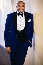 Latest Coat Pant Designs Royal Blue Velvet Prom Men Suit Slim Fit 3 Piece Tuxedo Custom Suits Groom Party Blazer Terno Masculino