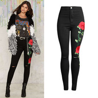 Women Jeans With Embroidery Knee Ripped Fashion Skinny High-Waist Denim Pants Full-Length Summer Sexy Butt Lift Up Black Jeans