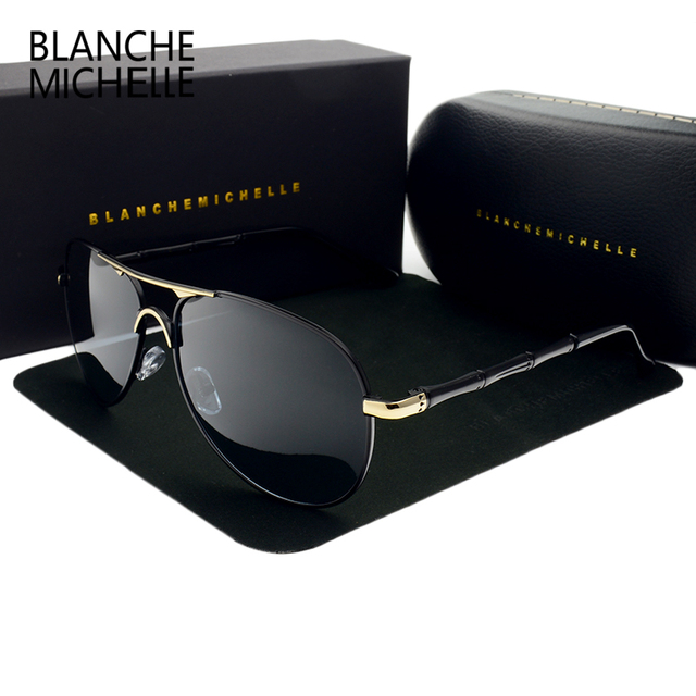 Blanche Mens Sunglasses Polarized Luxury Brand HD Sun glasses For Men vintage Driving Eyewear 2017 fishing oculos masculino