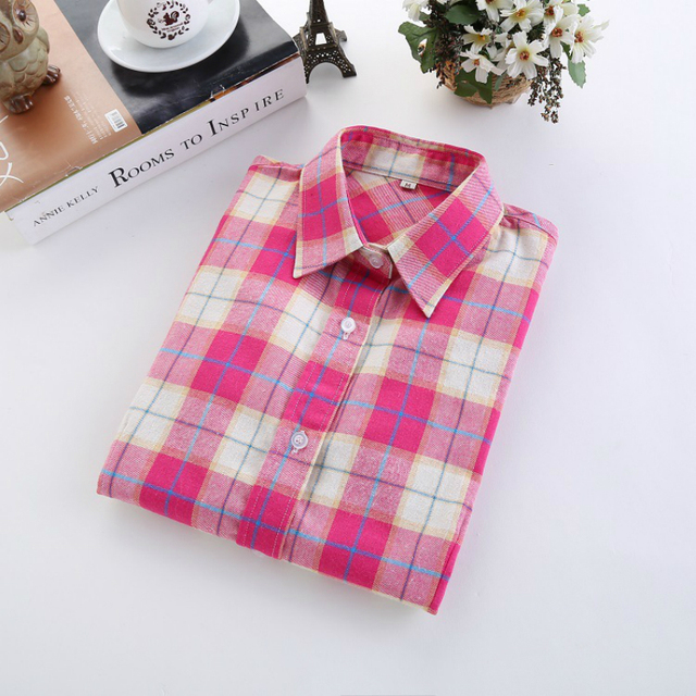 Checkered Shirt Women's Casual Style Women's Blouse With Long Sleeve Flannel Shirt Plus Size Cotton Blusa 5