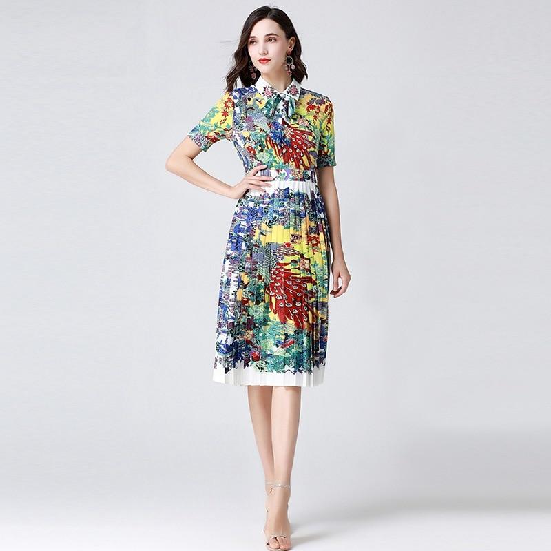 Kadın Giyim'ten Elbiseler'de 2019 yaz yeni tavuskuşu baskılı boncuklu pilili elbise kadın etek 190718YX03'da  Grup 1