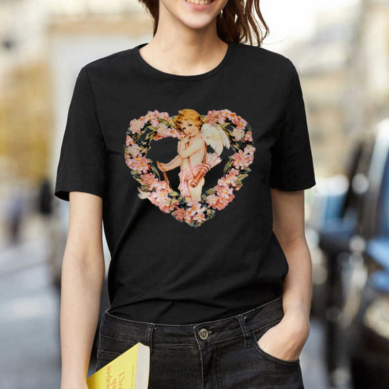 ZSIIBO Heart Wreath Cupid Angels Summer Women's Fashion Large Size Loose Harajuku Casual Fun T-Shirt Cartoon Letter Print tops