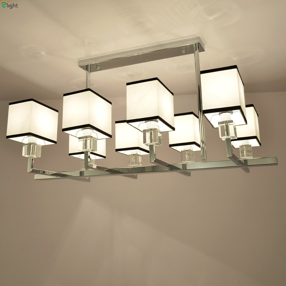 Modern Lustre Chrome Metal Foyer Led Chandelier Lighting Square Fabric Shades Dining Room Led Ceiling Chandeliers Light Fixtures