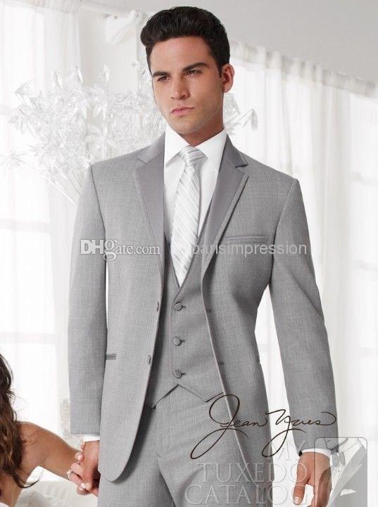 New Arrival Brand New Light Grey Groom Tuxedos Notch Lapel Best ...