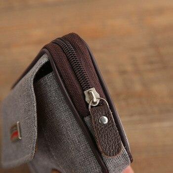 Cowboy Canvas Phone Pouch Belt Clip Bag for Samsung Case with Pen Holder Waist Bag Outdoor Sport 5