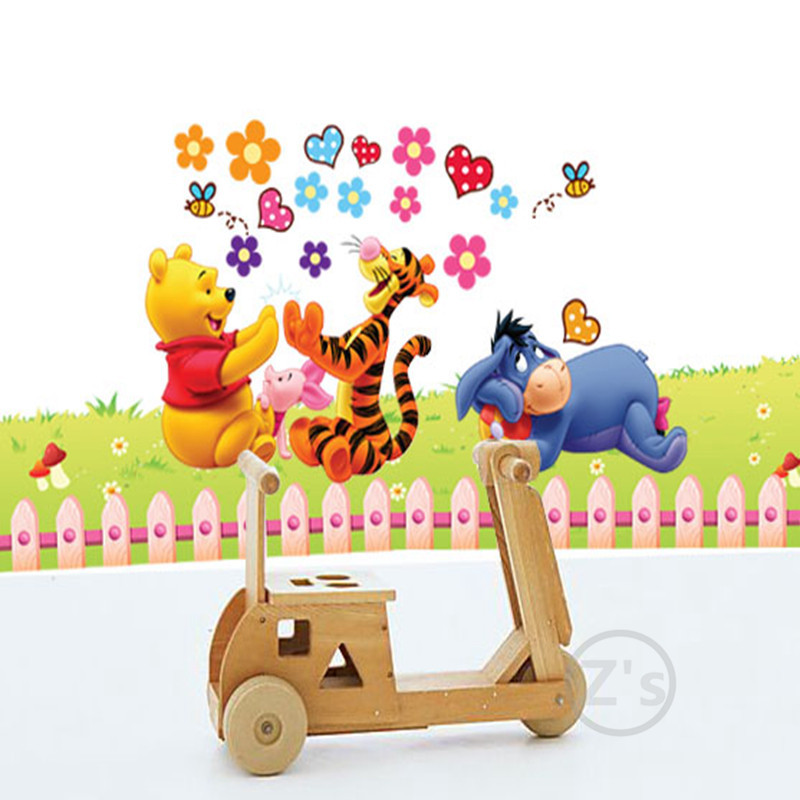 Zs Sticker Winnie the Pooh Stickers Wall Dekorimi Cartoon Wall Decal for Children Dhoma Decal Baby Vinyl Mural