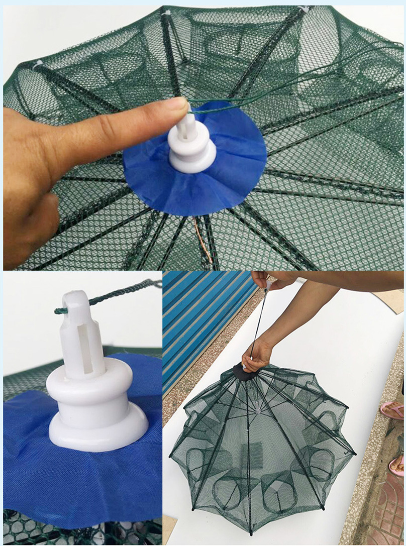 8 Hole Fishing Net Folded Portable Hexagon Fish Network Casting Nets Crayfish Shrimp Catcher Tank Trap China Cages Mesh Cheap (8)