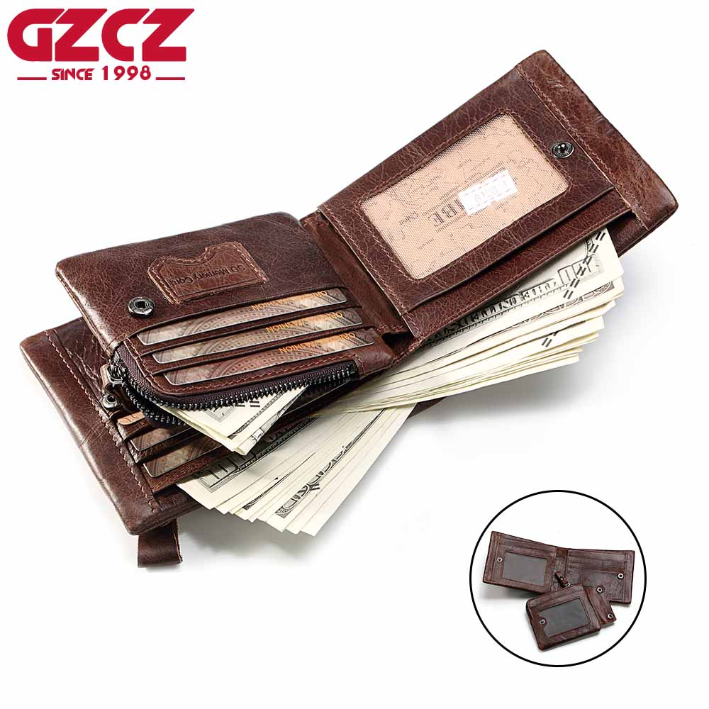 GZCZ Genuine Leather Men Wallet Coin Purse Large Capacity Money Bag Small High Quality Vallet Male Clutch Portomonee Rfid 2018 genuine leather men business wallets coin purse phone clutch long organizer male wallet multifunction large capacity money bag