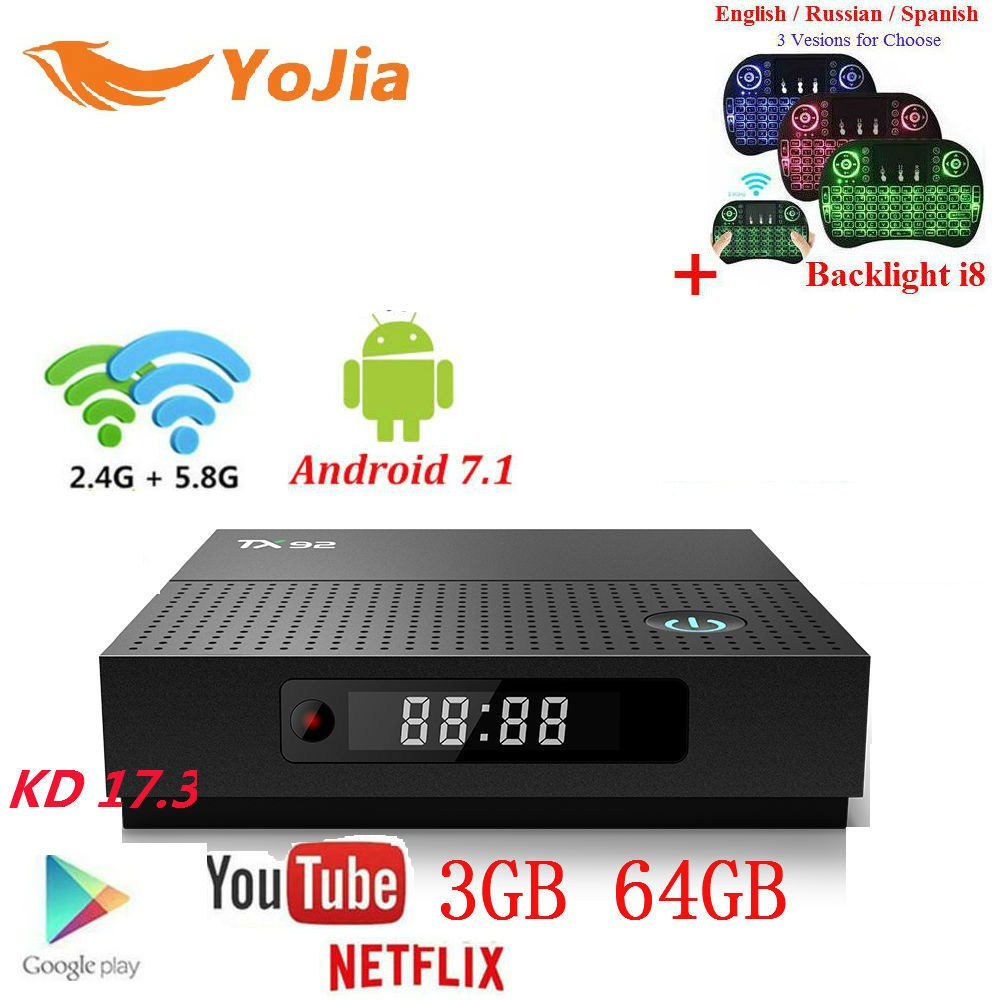 3GB64GB TX92 Amlogic S912 Android 7.1 TV Box Octa Core 3G/32G 1000M LAN Dual Wifi Stalker IP TV Tanix TX92 Media Player BT4.1