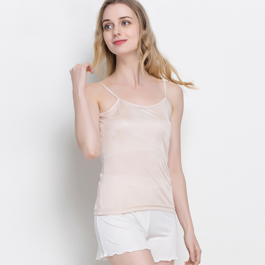 Women's Clothing ... Tops & Tees ... 32818739975 ... 2 ... 3pcs/lot Women silk Camis Natural silk Basic Camisoles Comfortable Silk tank tops 2019 Summer halter top Black White Nude Pink ...