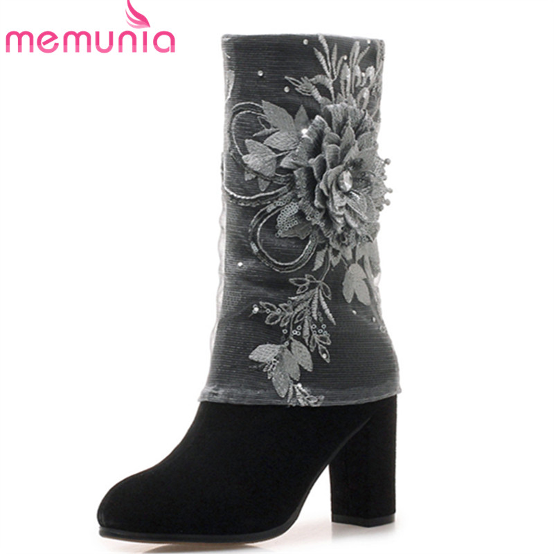 MEMUNIA hot sale fashion 2018 new ankle boots for women round toe suede leather boots high heels autumn winter boots lady shoes hxrzyz women chelsea boots spring autumn ankle boots woman hot new fashion of genuine leather round toe suede women winter shoes
