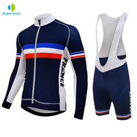 Verão Pro azul França Cycling team manga comprida Jersey Bib Shorts conjuntos Dos Homens de 2019 camisa de ciclismo manga longa conjunto triathlon Kits ciclismo     -