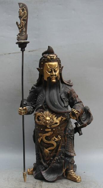 wholesale factory 17 China Bronze Gild Stand Guan Gong Yu Warrior God font b knife b