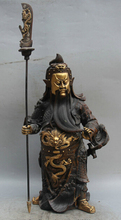 wholesale factory 17″ China Bronze Gild Stand Guan Gong Yu Warrior God knife sword knight Statue 6.6