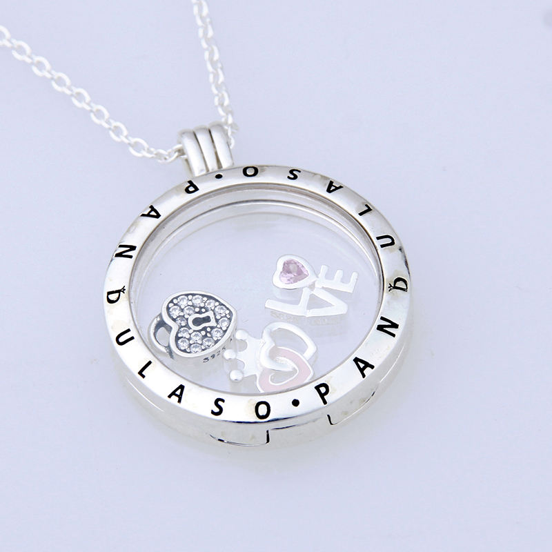 Pandulaso Forever love Petites Large Floating Locket Necklace Pendant for women DIY necklace 925 sterling silver