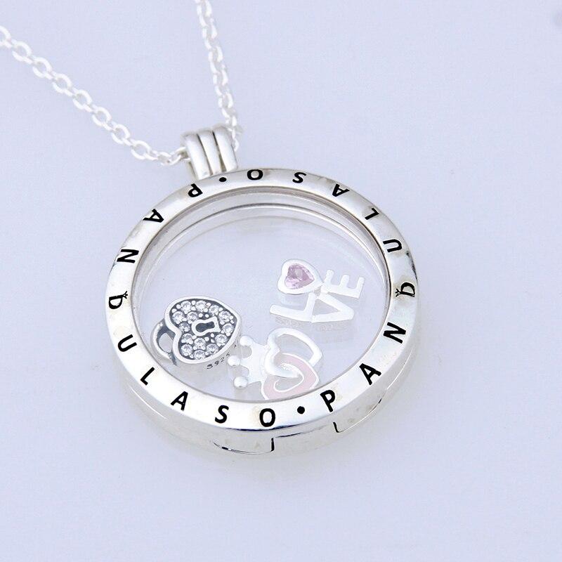 Pandulaso Forever love Petites grand collier médaillon flottant et pendentif pour femmes collier à faire soi-même 925 chaîne de bijoux en argent sterling