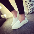 The new Korean version of the shallow mouth pointed flat leather small shoes Women's soft bottom casual shoes Flats