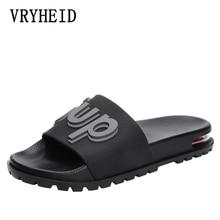 купить VRYHEID Brand Men Slippers 2019 Summer Mens Shoes Casual Breathable Beach Sandals Slippers Black Red Slippers Men Slides Flats по цене 972.12 рублей