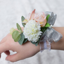 2018 Bridesmaid Wrist Flower White and Pink Rose Bridal Wedding Party Hand Decorative Artificial Foam Bouquet Floral New Arrival