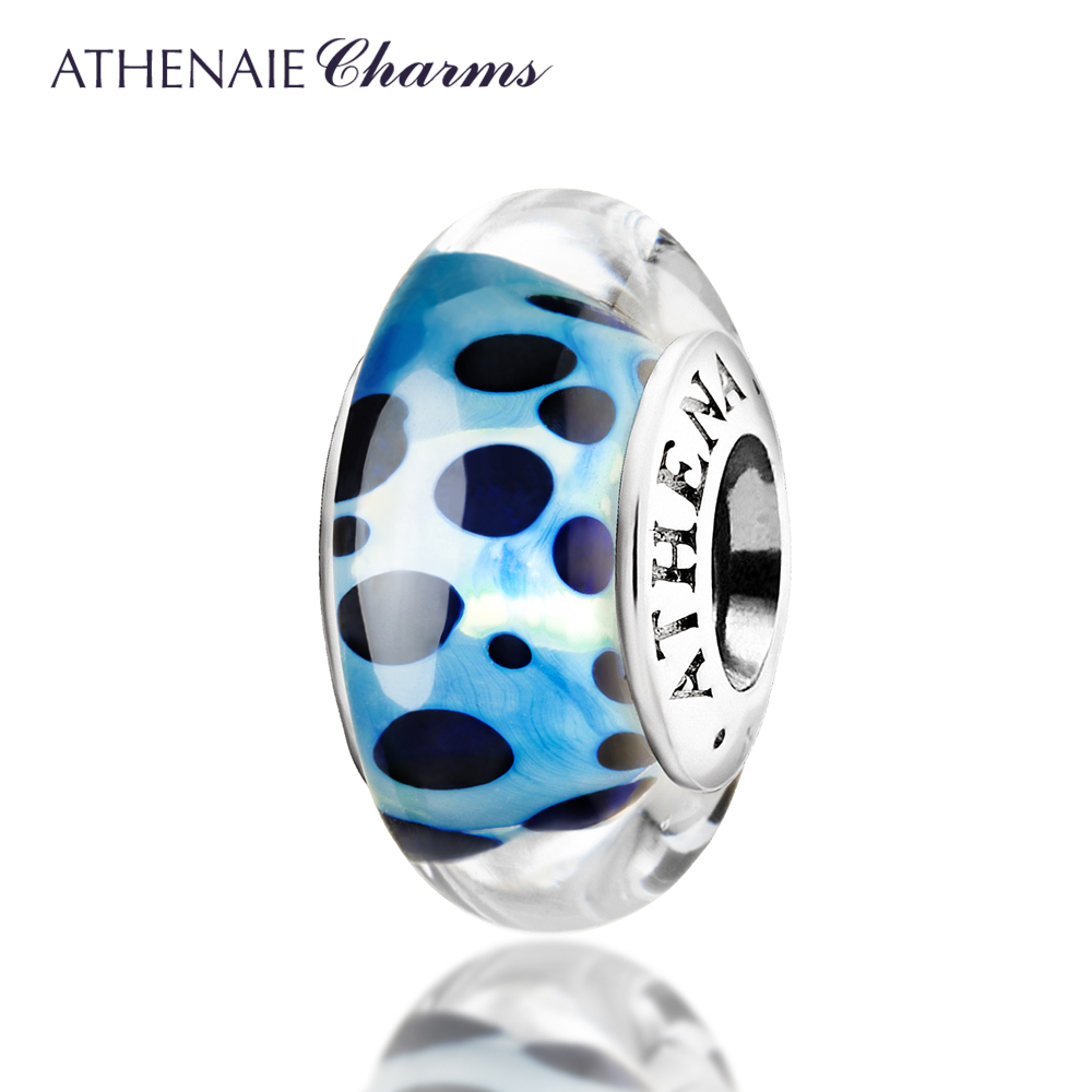 ATHENAIE Genuine Murano Glass 925 Silver Core Blue Spots Charms Bead Fit All European Bracelets Gift For Thanksgiving Day жидкость сливки nars 15 all day 30ml