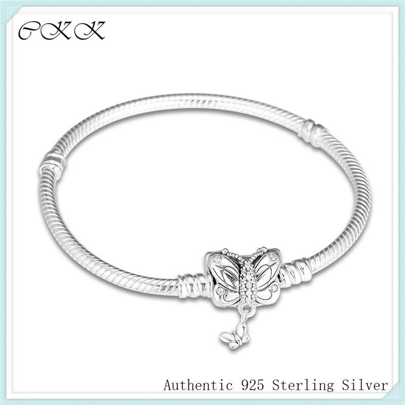 100 925 Sterling Silver Bracelet Decorative Butterfly Clasp Moments Snake Bracelets for Women Gift Fit Charm