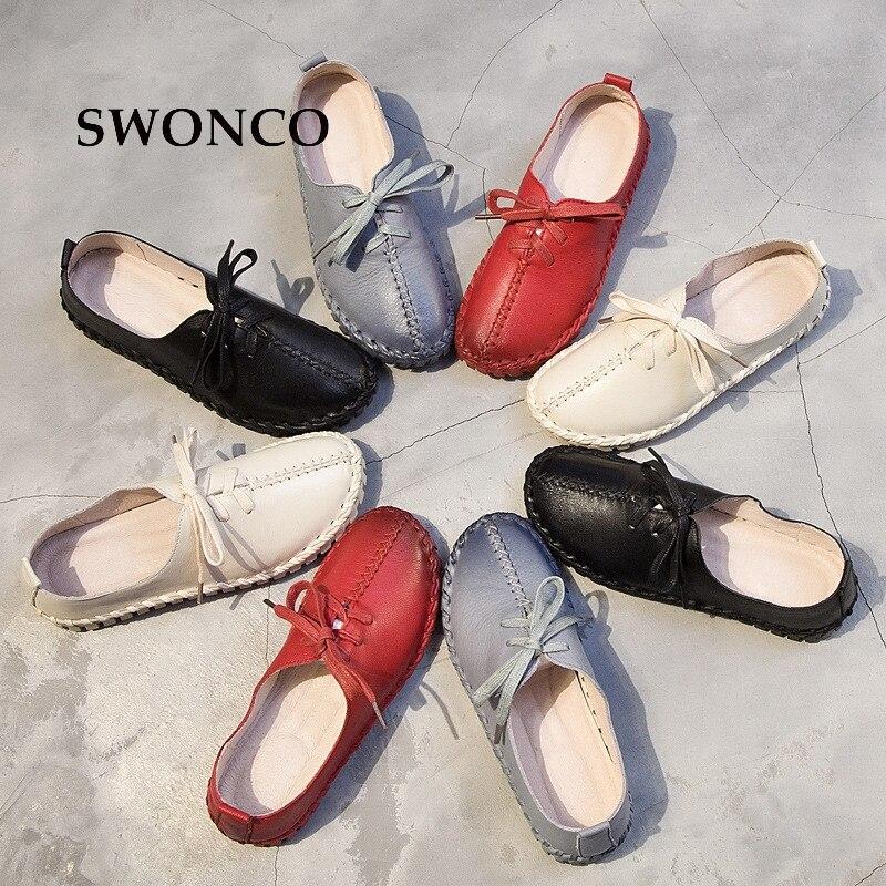 Mocassins Swonco Printemps Véritable Appartements Chaussures Femme blue white De Sneakers Slip Casual blanc Pour 41 On En Automne Black Noir Cuir red Femmes rrW0Tg